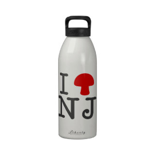 I HEART New Jersey - Solid Red Magic Mushroom Water Bottles