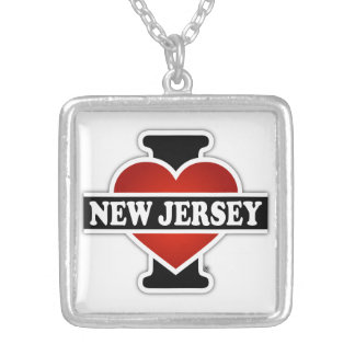 I Heart New Jersey Square Pendant Necklace