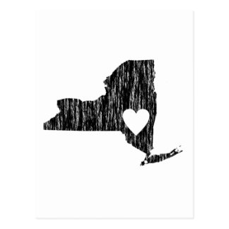 I Heart New York Grunge Look Outline State Love Postcard