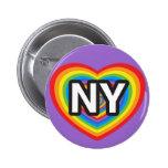 I heart New York. I love New York. NYC rainbow Pinback Button