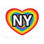 I heart New York. I love New York. NYC rainbow Postcards