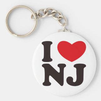 I HEART NJ BASIC ROUND BUTTON KEYCHAIN