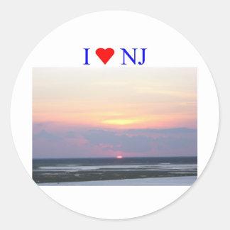 I Heart NJ Sunset Classic Round Sticker