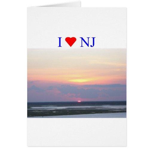 I Heart NJ Sunset Greeting Card