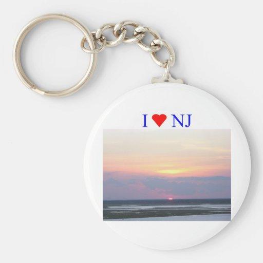 I Heart NJ Sunset Key Chain