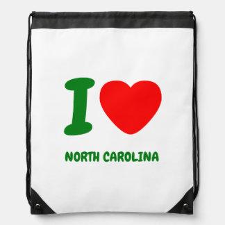 I HEART NORTH CAROLINA CINCH BAG
