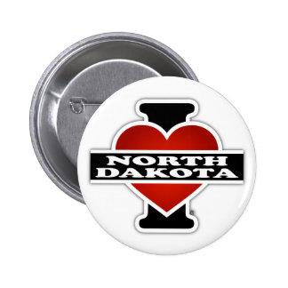 I Heart North Dakota 2 Inch Round Button