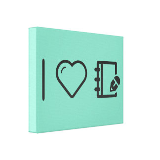 I Heart Notebooks Canvas Print