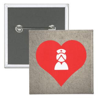 I Heart Nurse Uniforms Icon 2 Inch Square Button