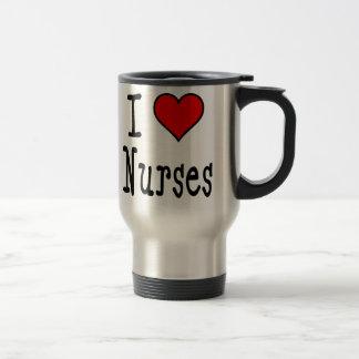 I Heart Nurses 15 Oz Stainless Steel Travel Mug