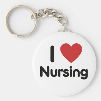 I heart Nursing Basic Round Button Keychain
