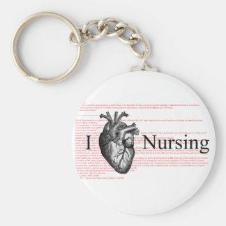 I Heart Nursing Basic Round Button Keychain
