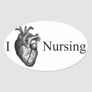 I Heart Nursing Oval Sticker