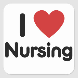 I heart Nursing Square Sticker