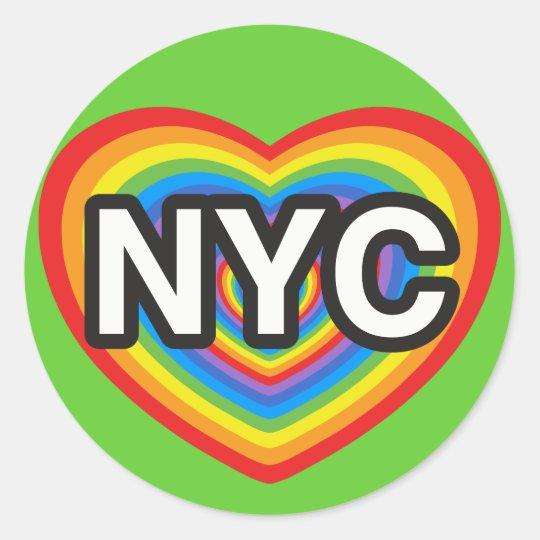 I heart NYC. I love NYC. New York City rainbow hea Classic Round Sticker