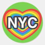 I heart NYC. I love NYC. New York City rainbow hea Stickers