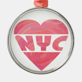 I Heart NYC Silver-Colored Round Ornament