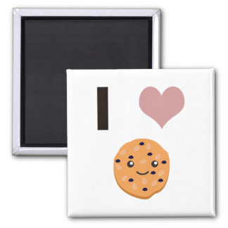 I heart Oatmeal Cookies 2 Inch Square Magnet
