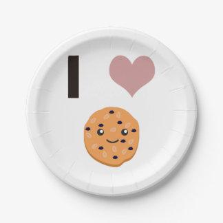 I heart Oatmeal Cookies Paper Plate