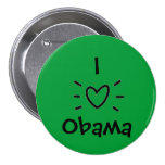 "I ""HEART"" OBAMA! BUTTONS"