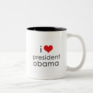 i heart obama mug! Two-Tone coffee mug