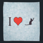 """I Heart Obedient Pets Bandana<br><div class=""""desc"""">Express love and devotion towards Cat black silhouette with extended tail and one paw to front with this great,  pets icons themed product that features a red heart and reads: I Love Cat black silhouette with extended tail and one paw to front.</div>"""