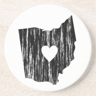 I Heart Ohio Grunge Worn Outline State Love Coaster