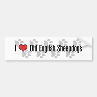 I (heart) Old English Sheepdogs Car Bumper Sticker