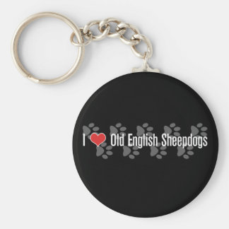 I (heart) Old English Sheepdogs Keychain