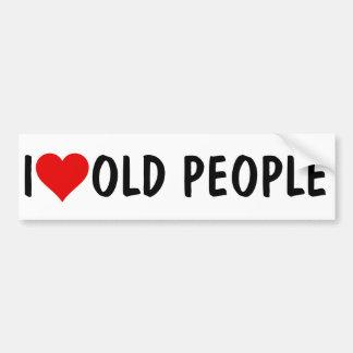 I HEART OLD PEOPLE CAR BUMPER STICKER