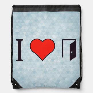 I Heart Open Doors Drawstring Bag
