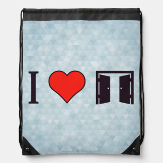 I Heart Opened Doors Drawstring Bag
