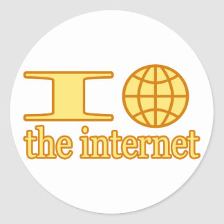 I Heart (or wire globe) the Internet Classic Round Sticker