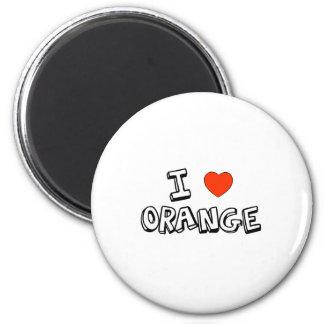 I Heart Orange 2 Inch Round Magnet
