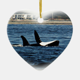 I heart Orcas Killer Whale Belly flop Ceramic Ornament