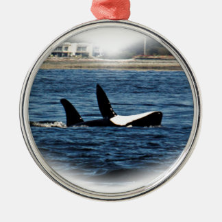 I heart Orcas Killer Whale Belly flop Metal Ornament