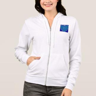 I heart Orcas Ladies zip Hooded Sweatshirt