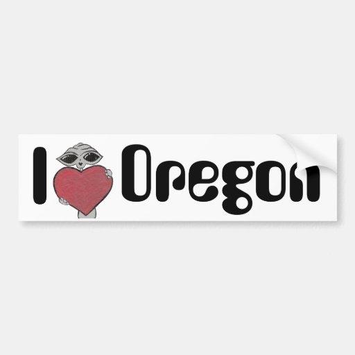 I Heart Oregon Alien Car Bumper Sticker