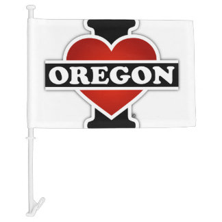 I Heart Oregon Car Flag