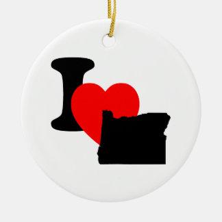 I Heart Oregon Ceramic Ornament