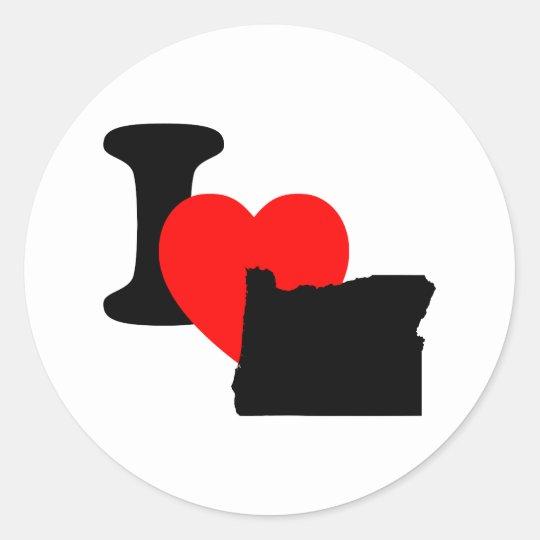 I Heart Oregon Classic Round Sticker