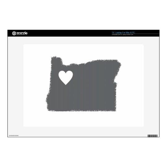 """I Heart Oregon Grunge Look Outline State Love 15"""" Laptop Skin"""