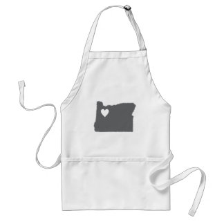 I Heart Oregon Grunge Look Outline State Love Adult Apron