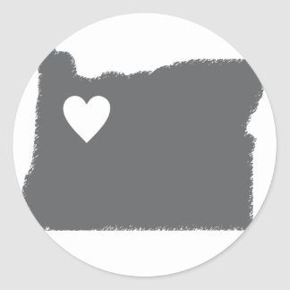 I Heart Oregon Grunge Look Outline State Love Classic Round Sticker