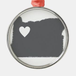 I Heart Oregon Grunge Look Outline State Love Metal Ornament