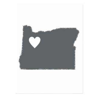 I Heart Oregon Grunge Look Outline State Love Postcard