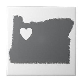 I Heart Oregon Grunge Look Outline State Love Ceramic Tile