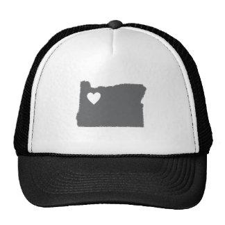 I Heart Oregon Grunge Look Outline State Love Trucker Hat