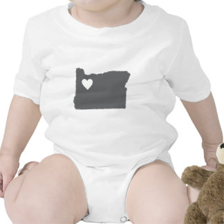 I Heart Oregon Grunge Look Outline State Love Bodysuit