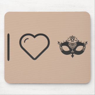 I Heart Ornamented Masks Mouse Pad